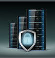 network servers with a shield security database vector image
