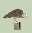 owl sits on the stump vector image vector image