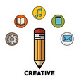 pencil and objects design vector image