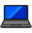 pixel black laptop computer detailed isolated vector image vector image