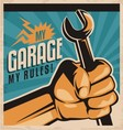 Retro poster design for auto mechanic vector image vector image