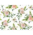 seamless pattern bouquets of pink white garden vector image vector image