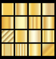 set of gold gradients golden squares collection vector image vector image