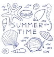 Set of Summer Sketches Hand Drawn in Pencil vector image