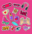 teenager girl fashion badges patches and stickers vector image vector image
