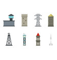 tower icon set flat style vector image