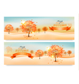 Two autumn abstract banners with colorful leaves vector image vector image