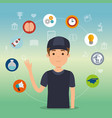 young man student with education supplies vector image vector image