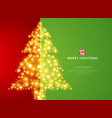 christmas tree lighting on green red background vector image
