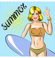surfer girl beautiful woman standing on the beach vector image