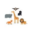 Different animals flat design icons set vector image