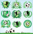 Soccer shield and laurel wreath set vector image