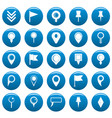 map pointer icons set blue simple style vector image