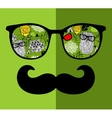 Abstract face of man in glasses vector image vector image