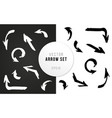 arrows set hand drawn ink bw vector image
