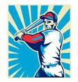 Baseball player holding bat vector image