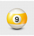 billiardyellow pool ball with number 9snooker vector image