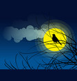 bird silhouette sitting on a tree branch vector image vector image
