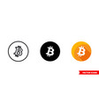 bitcoin icon 3 types color black and white vector image vector image