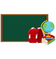 Blackboard and other school objects vector image vector image