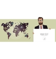 Businessman with a board and map of the world vector image vector image