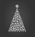 christmas tree of snow gretting xmas card vector image vector image
