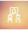 Couple consider to buy a house thin line icon vector image vector image