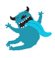 crazy monster showing tongue jumping vector image