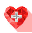 crystal swiss heart flag switzerland vector image
