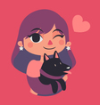 Cute Girl Winking and Holding a Dog vector image vector image