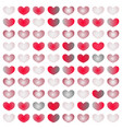 cute hearts set gradient from white to red vector image