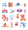 cute toys cartoon playthings for children vector image
