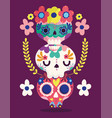 day dead catrinas flowers decoration vector image vector image