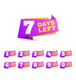 days left countdown day to go numbers offer sale vector image vector image