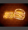 fast food burger neon label vector image vector image