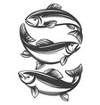 fish set icon fishing symbol hand drawn vector image