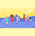 flat cartoon disco people banner in floral style vector image