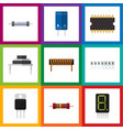 flat icon technology set of memory microprocessor vector image vector image