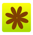 flower sign brown icon at vector image vector image