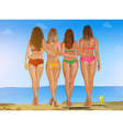 Four sexy women on beach vector image
