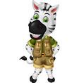funny white black zebra in green uniform cartoon vector image vector image