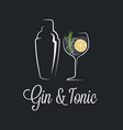 gin tonic cocktail logo shaker with glass gin vector image