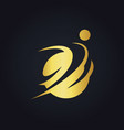gold people sport round logo vector image vector image
