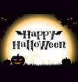 happy halloween in black pumpkin monsters vector image