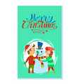 merry christmas holidays children building snowman vector image vector image