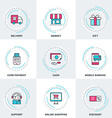 Modern Business and Shopping Line Icons Set vector image vector image