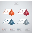 Modern template with glossy pyramids and strips of vector image