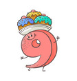 number nine cute cartoon character with sweet vector image