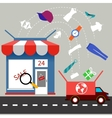 Online store with delivery service concept vector image vector image