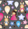 pattern with cartoon cute toy baby girl and bunny vector image vector image
